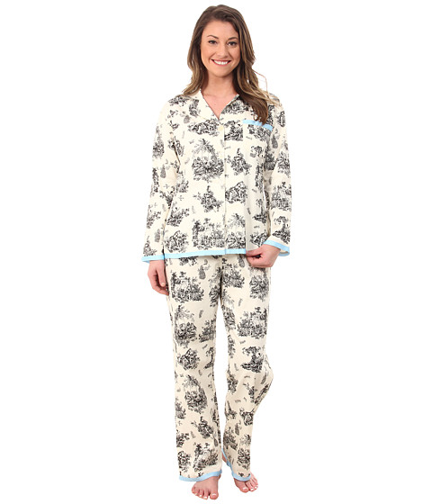 BedHead - Cotton Sateen L/S Ribbon PJ (Black Vintage Toile) Women's Pajama Sets
