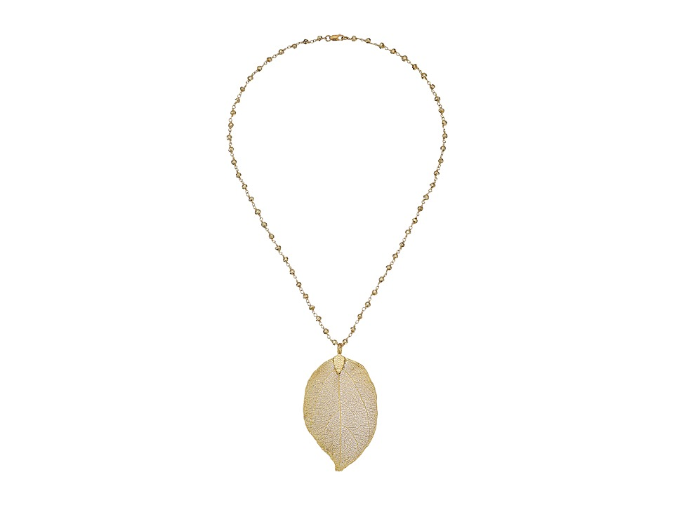 Dee Berkley - Gold Leaf Pendant Necklace (Gold) Necklace
