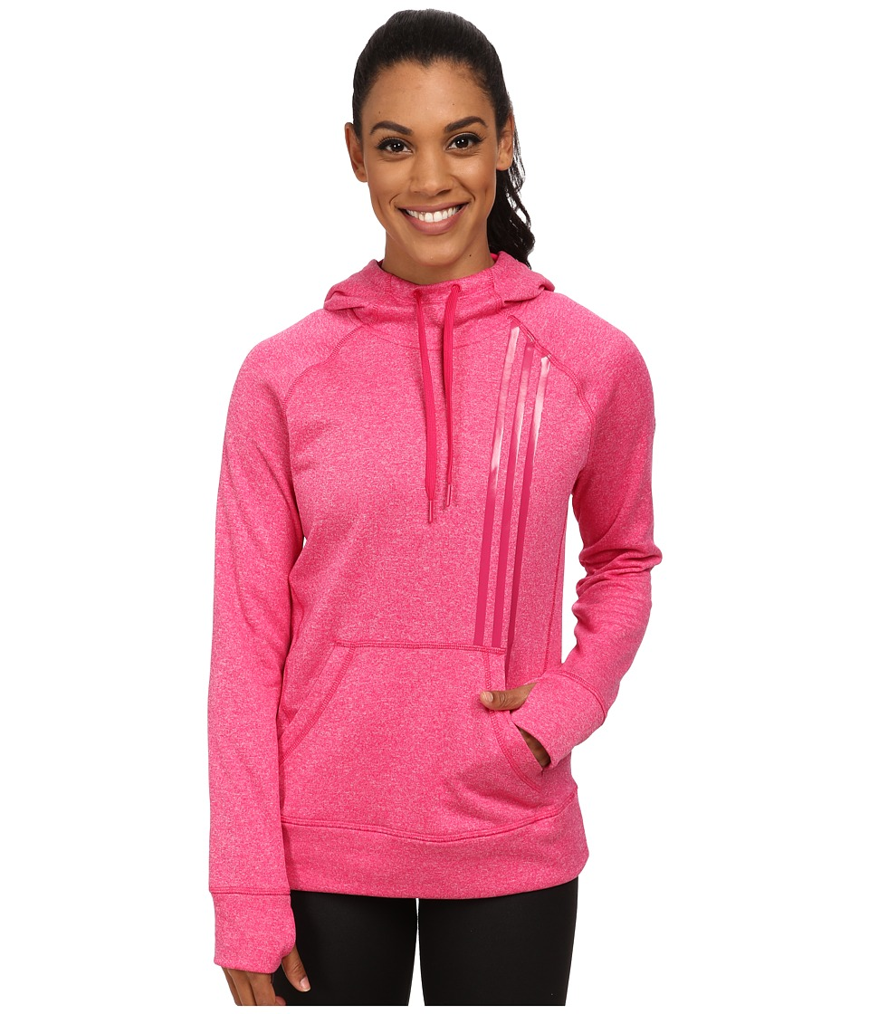 adidas - Ultimate Fleece 3-Stripes Pullover Hoodie (Bold Pink) Women