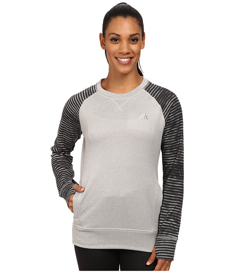 adidas - Ultimate Fleece Crew Illuminated Screen (Medium Grey Heather Solid Grey/Black Print) Women