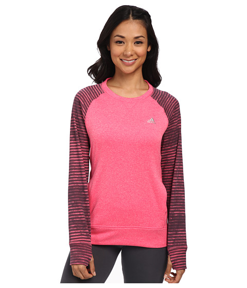 adidas - Ultimate Fleece Crew Illuminated Screen (Super Pink/Dark Grey Print) Women