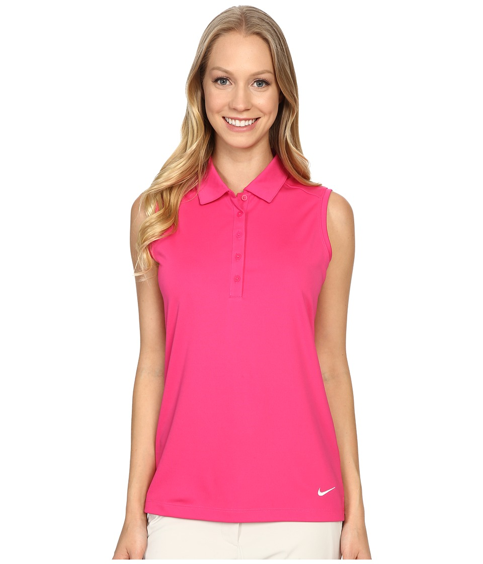Nike Golf - Victory Solid Sleeveless Polo (Vivid Pink/White) Women's Sleeveless