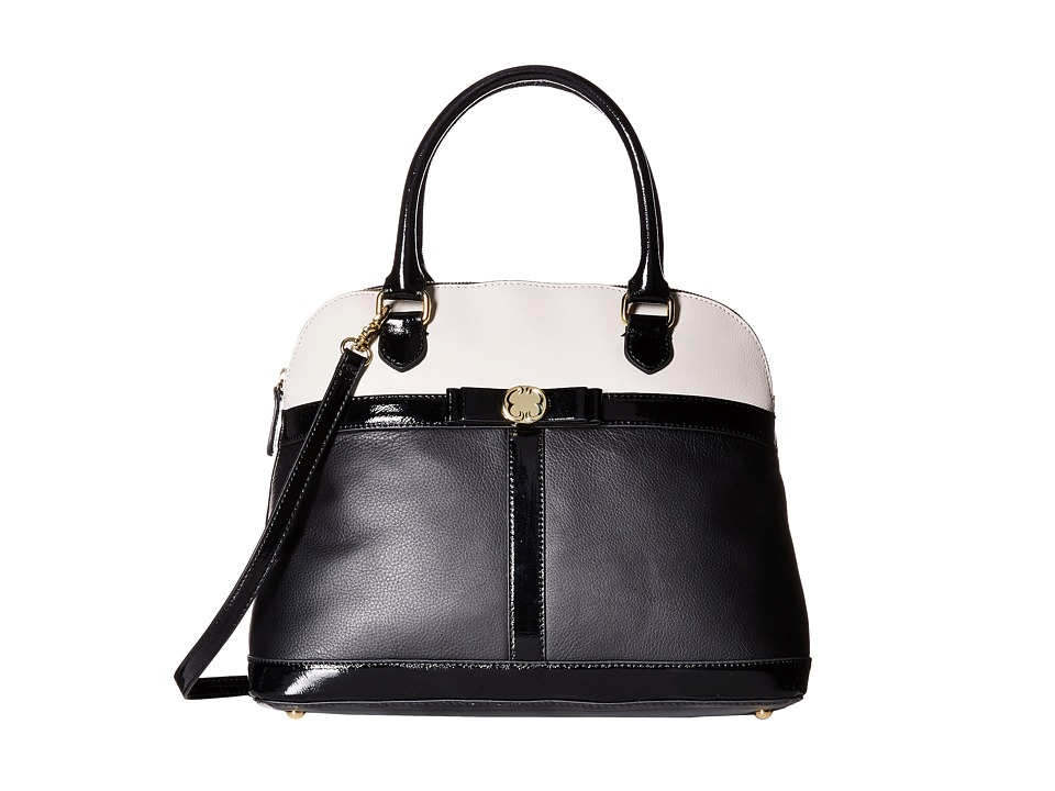 Emma Fox - Brenton Dome Satchel (Black/Bone/Black Patent) Satchel Handbags