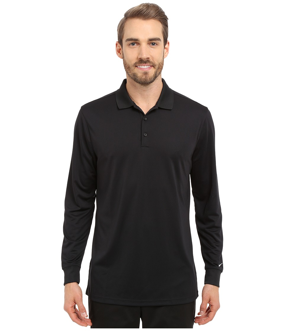 Nike Golf - Victory Long Sleeve Polo (Black/White) Men's Long Sleeve Pullover