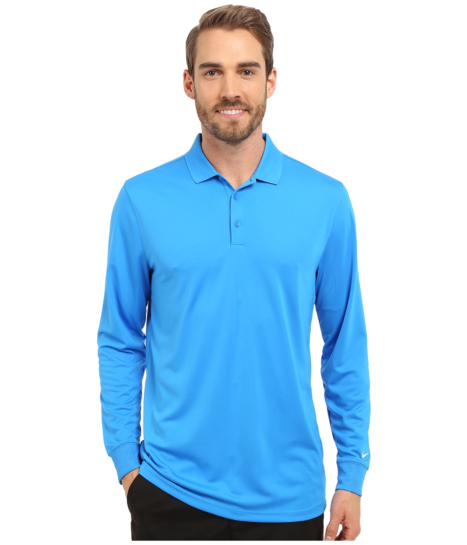 Nike Golf - Victory Long Sleeve Polo (Photo Blue/White) Men's Long Sleeve Pullover