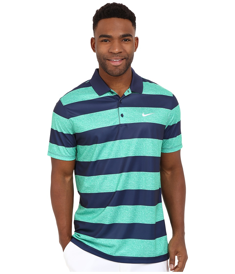 Nike Golf - Victory Bold Stripe Polo (Lucid Green/Midnight Navy/White) Men's Short Sleeve Pullover