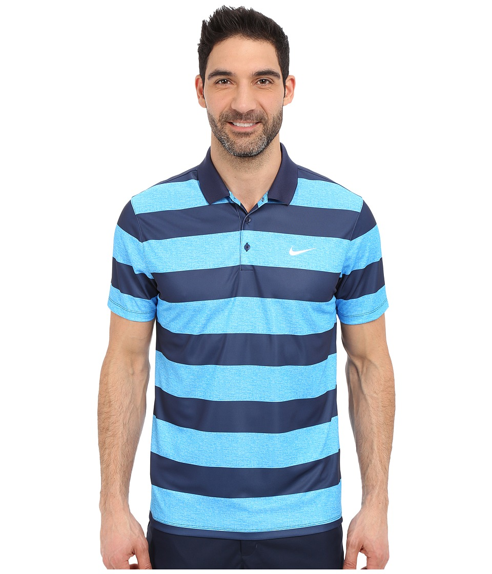 Nike Golf - Victory Bold Stripe Polo (Photo Blue/Midnight Navy/White) Men's Short Sleeve Pullover