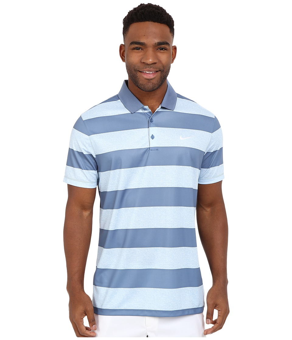 Nike Golf - Victory Bold Stripe Polo (Blue/Grey/Ocean Fog/White) Men's Short Sleeve Pullover