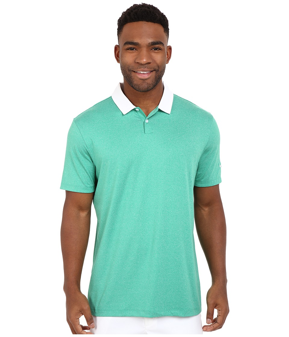 Nike Golf - Icon Heather Polo (Lucid Green Heather/White) Men's Short Sleeve Pullover