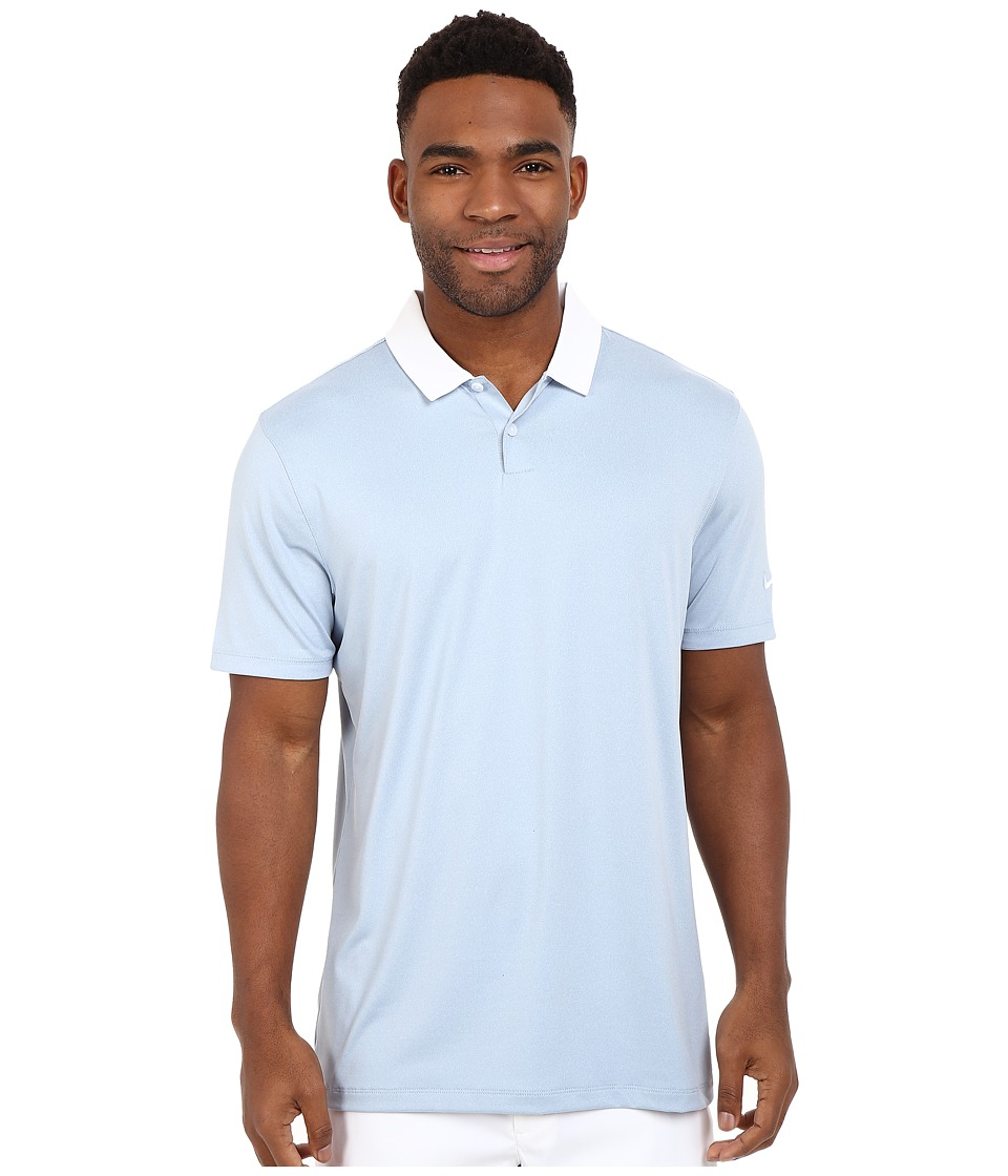 Nike Golf - Icon Heather Polo (Blue/Grey Heather/White) Men's Short Sleeve Pullover