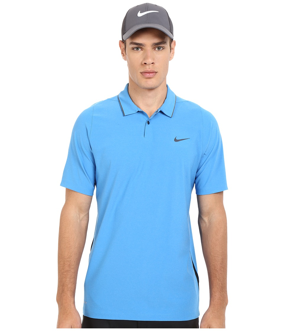 Nike Golf - Tiger Woods Velocity Woven Solid Polo (Photo Blue/Black/Reflect Black) Men's Short Sleeve Knit