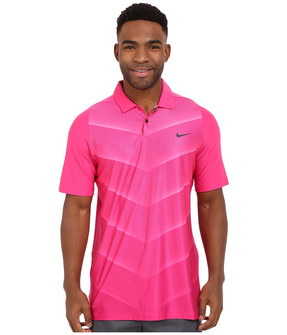 Nike Golf - Tiger Woods Velocity Hypercool Fade (Vivid Pink/Hyper Pink/Black/Reflect Black) Men's Short Sleeve Pullover
