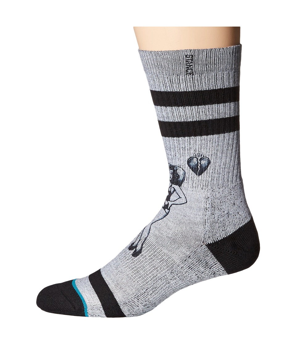Stance - Heart Break (Grey) Men's Crew Cut Socks Shoes