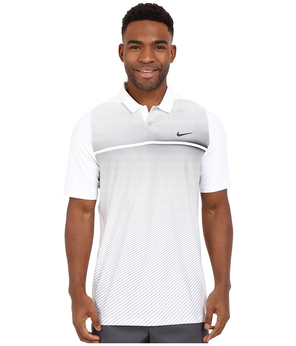 Nike Golf - Tiger Woods Velocity Hypercool Print Polo (White/Black/Black/Reflect Black) Men's Short Sleeve Pullover