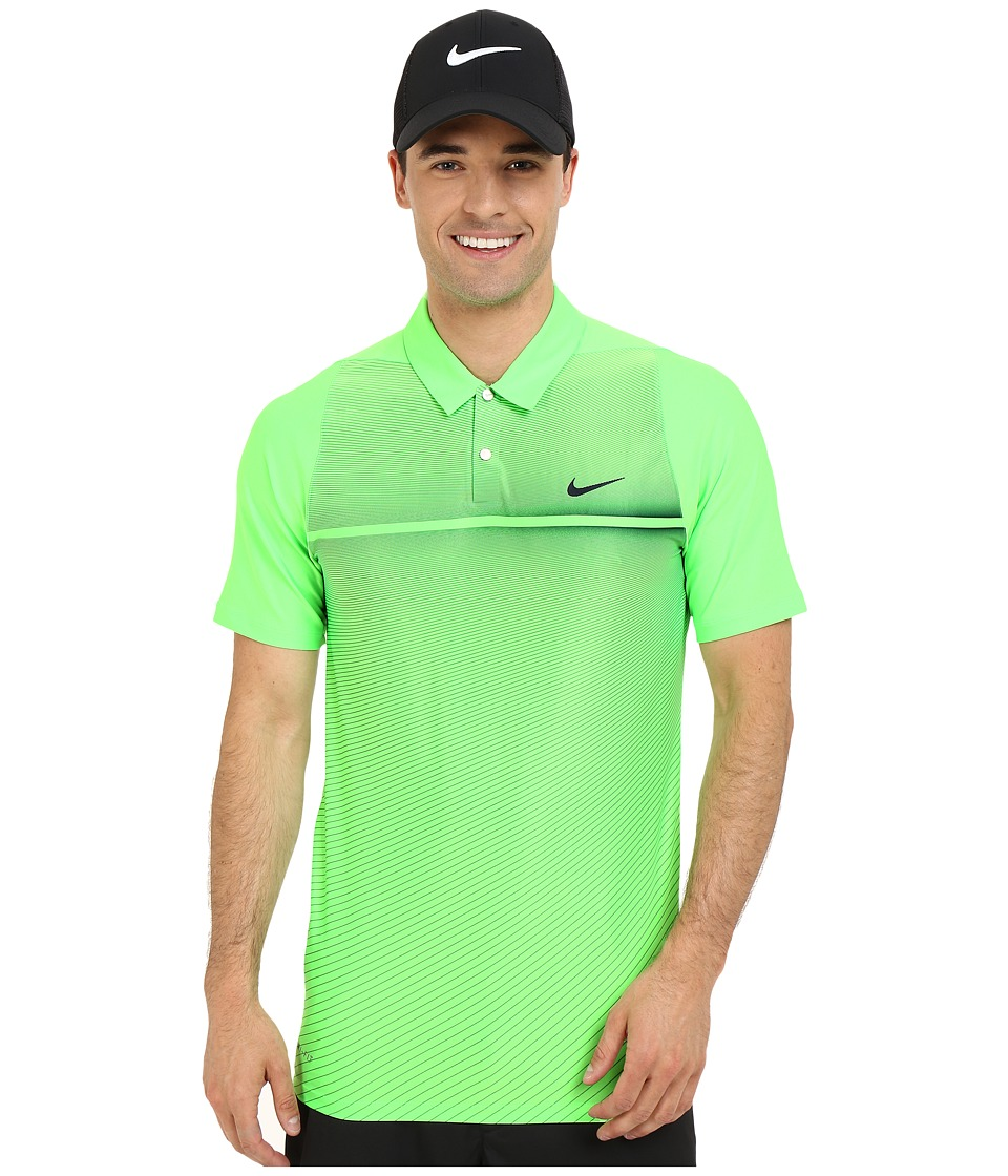 Nike Golf - Tiger Woods Velocity Hypercool Print Polo (Voltage Green/White/Black/Reflect Black) Men's Short Sleeve Pullover