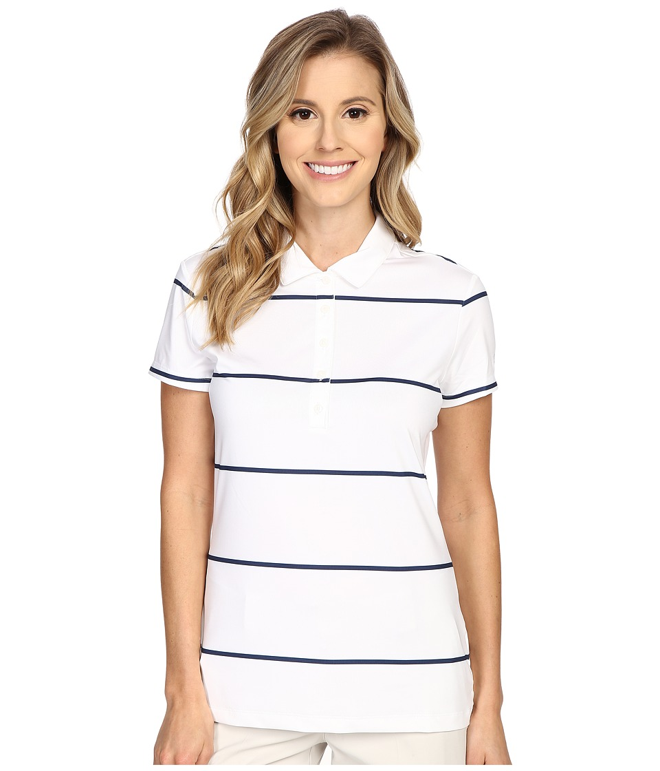 Nike Golf - Precision Stripe Polo (White/Midnight Navy/Metallic Silver) Women's Short Sleeve Pullover
