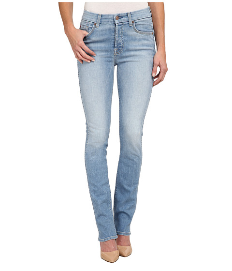 7 For All Mankind - High Waist Straight Jeans in Light Sky (Light Sky) Women