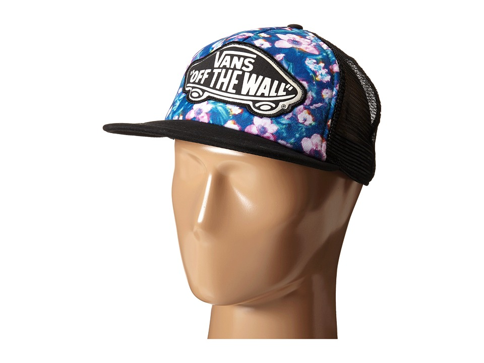 Vans - Beach Girl Trucker Hat ((Blurred Floral) Poseidon/True White) Caps