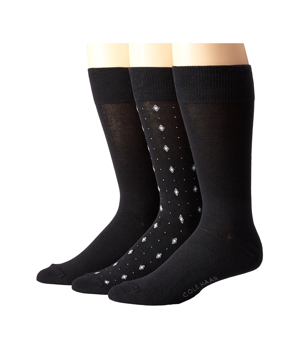 Cole Haan - Diamond Neats Crew 3-Pack (Black) Men's Crew Cut Socks Shoes