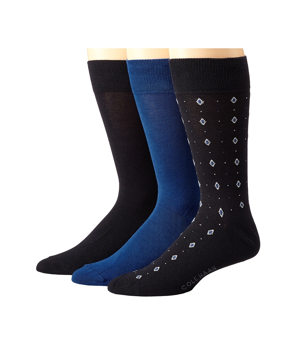 Cole Haan - Diamond Neats Crew 3-Pack (Navy/Astor Blue/Navy) Men's Crew Cut Socks Shoes