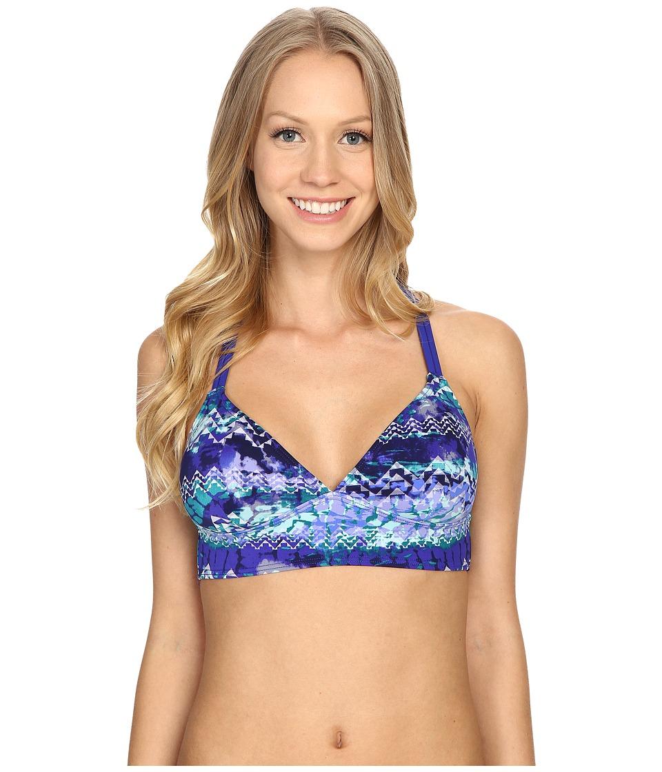 TYR - Emerald Lake Cascade Cross Bralette (Velvet/Turquoise) Women's Swimwear