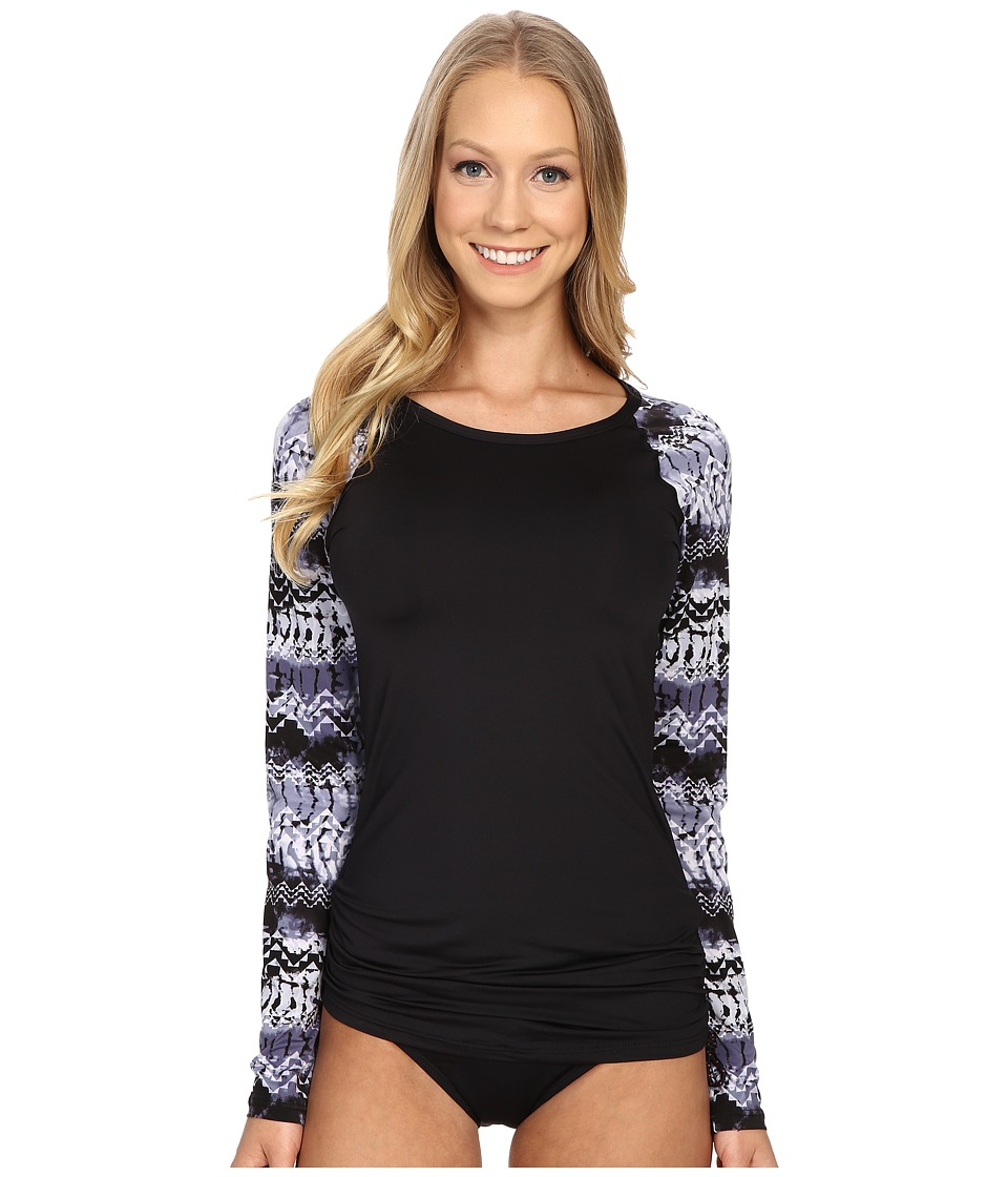 TYR - Emerald Lake Long Sleeve Swim Shirt (Black/Grey) Women's Swimwear