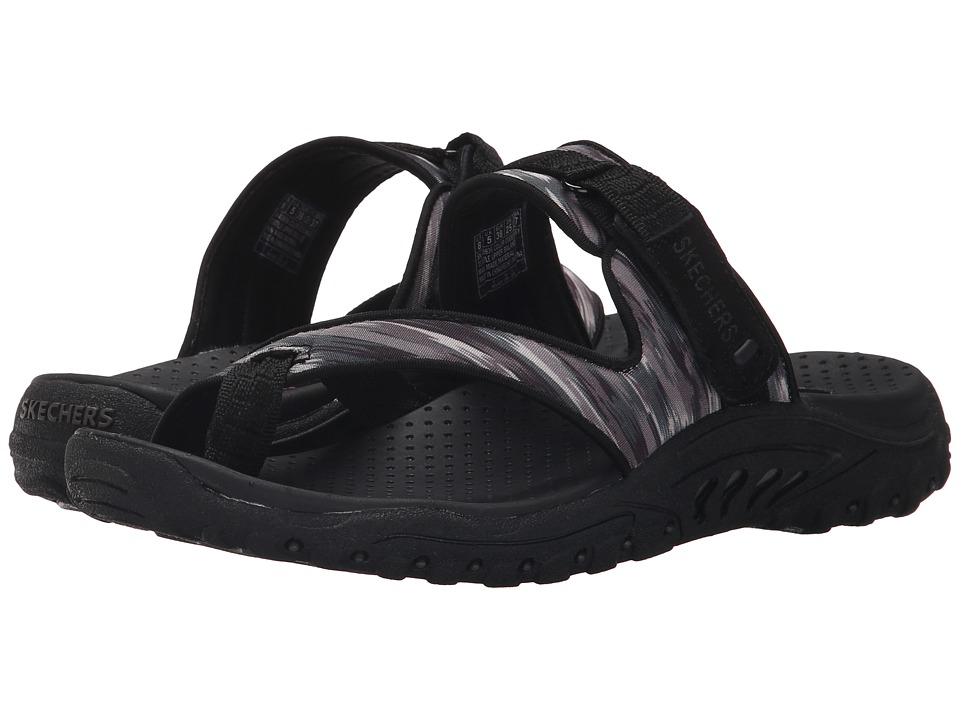 SKECHERS - Reggae - Brush Strokes (Black/Grey) Women's Sandals
