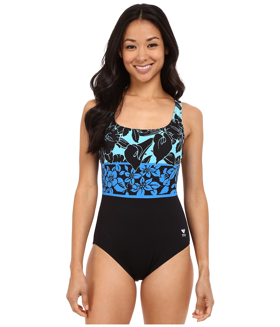 TYR - Narciso Aqua Controlfit (Black/Blue) Women's Swimsuits One Piece