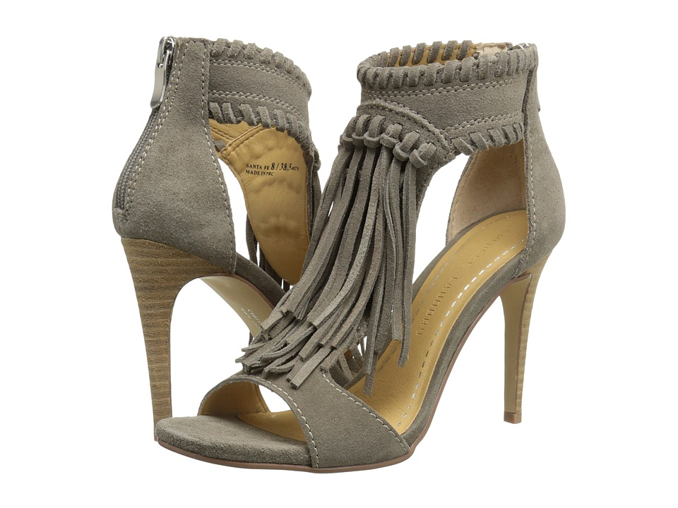 Chinese Laundry Santa Fe Fringe Sandal Feather Grey FE Split Suede High Heels