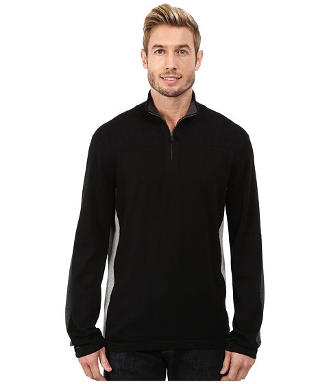 DKNY Jeans - Long Sleeve Quilted 1/4 Zip Sweater (Black) Men's Sweater