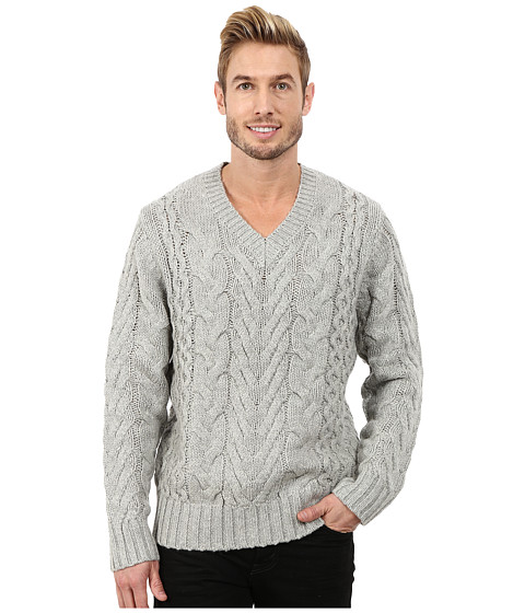 DKNY Jeans - Long Sleeve Lux Cable V-Neck Sweater (Heather Grey) Men