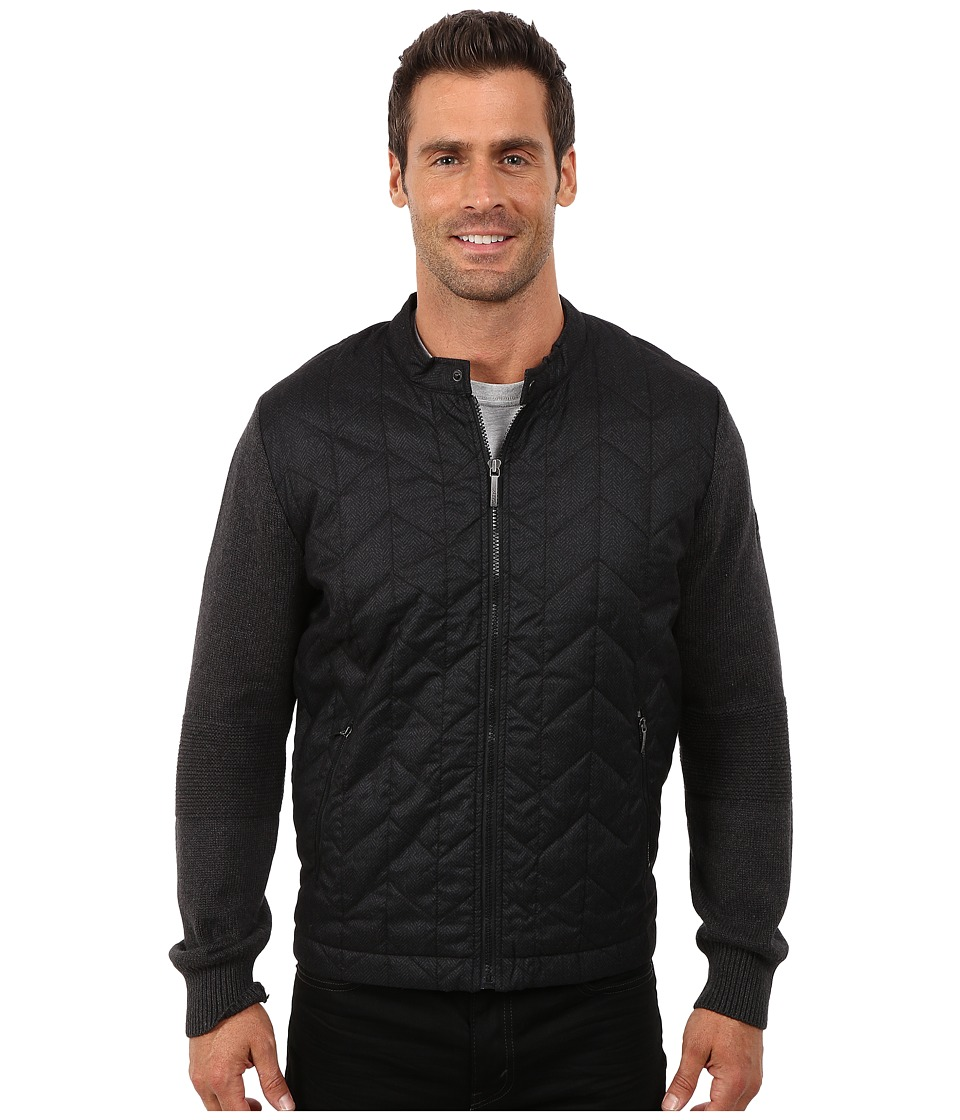 DKNY Jeans - Long Sleeve Herringbone Quilted Biker Jacket with Sweater Sleeves (Black) Men