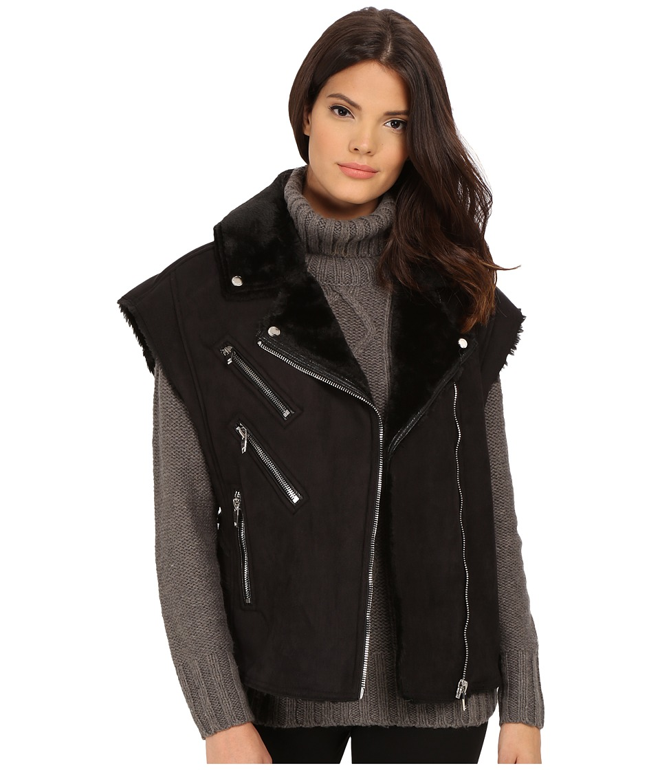 Blank NYC - Faux Shearling Vest with Zippers (Black) Women's Coat