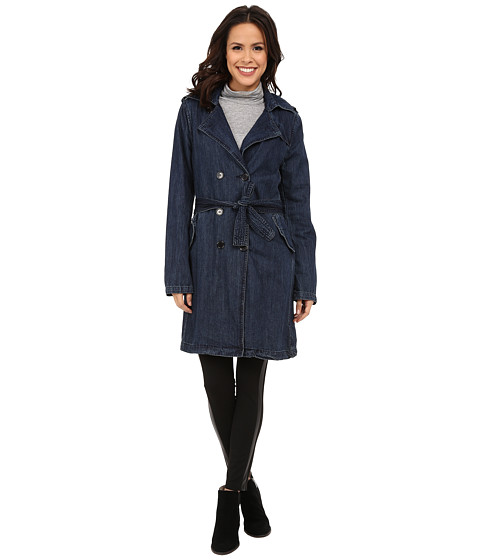 Blank NYC - Trench Coat with Belt (Denim Blue) Women