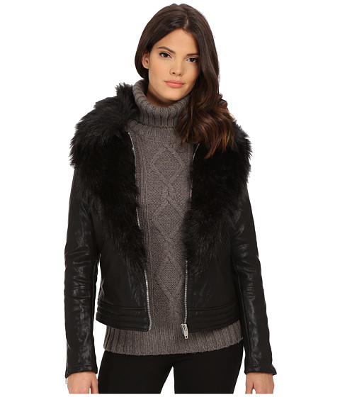 Blank NYC - Faux Fur/Vegan Leather Jacket (Black) Women's Coat