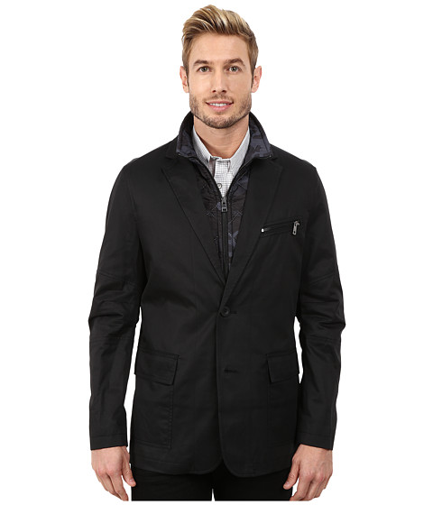 DKNY Jeans - Cotton Tencel Blazer with Camo Quilted Vest (Black) Men