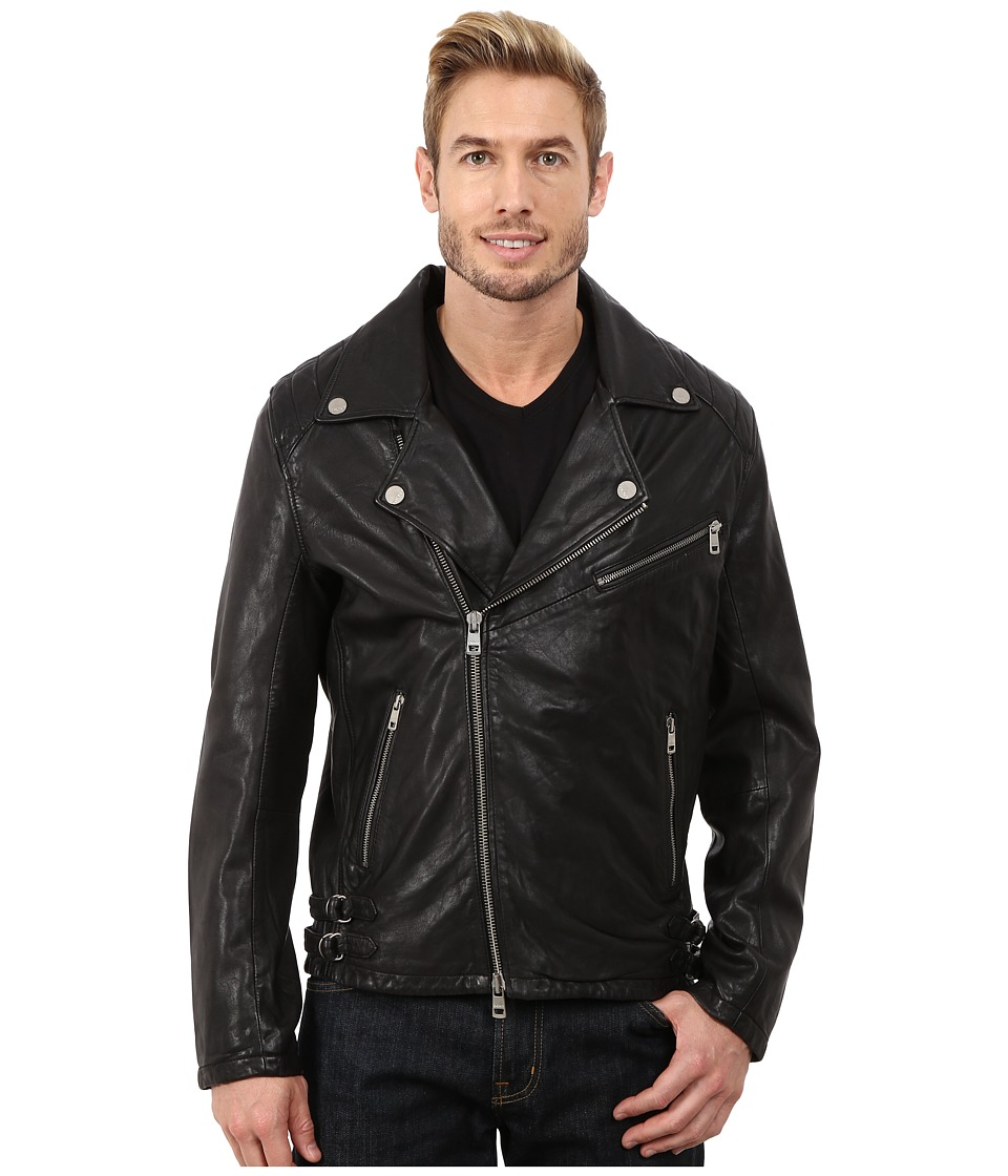 DKNY Jeans - Washed Leather Biker Jacket - Black Capsule (Black) Men's Coat