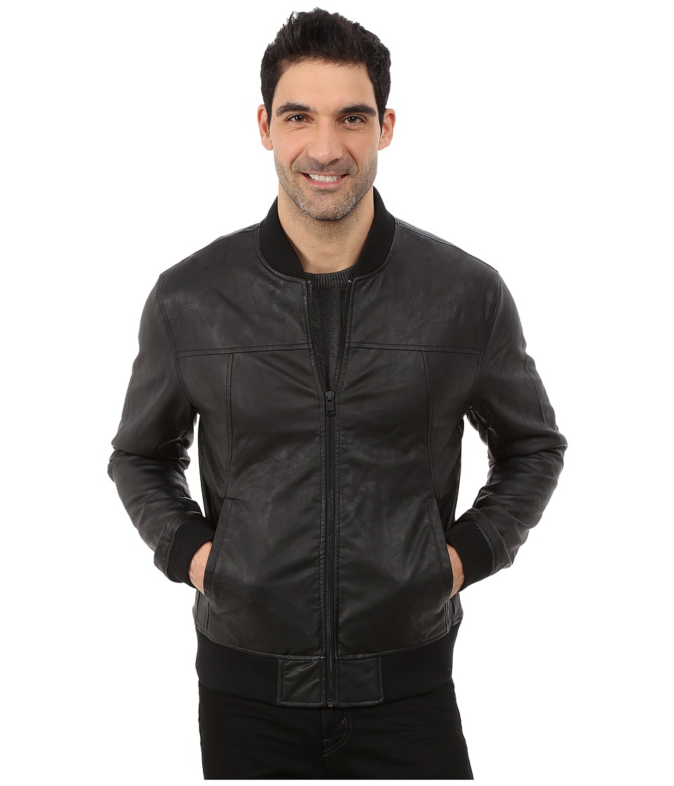 DKNY Jeans - Faux Leather Bomber Jacket (Black) Men's Coat
