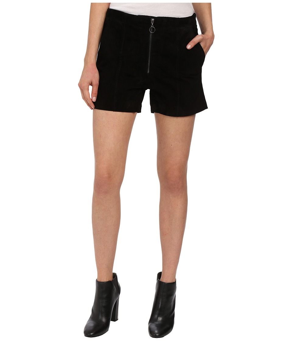 Blank NYC - Suede High Rise Shorts with Zipper (Black) Women's Shorts