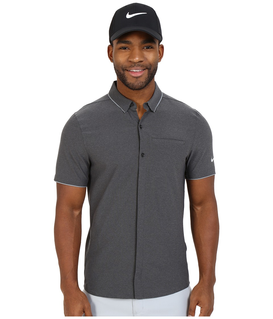 Nike Golf - Momentum Full-Button Woven (Black/Cool Grey/Bright Crimson/Reflective Silver) Men's Short Sleeve Button Up