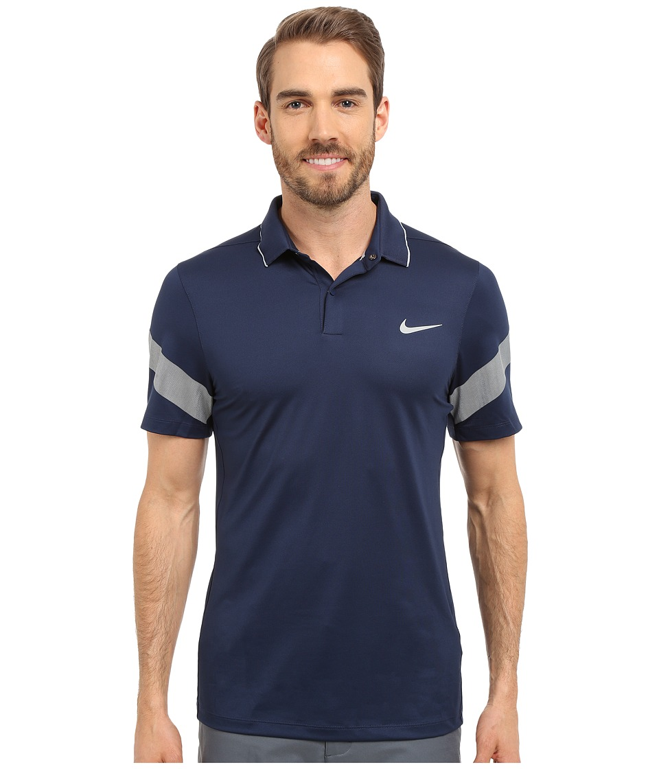 Nike Golf - Momentum Framing Commander (Midnight Navy/Photo Blue/Reflective Silver) Men's Short Sleeve Pullover