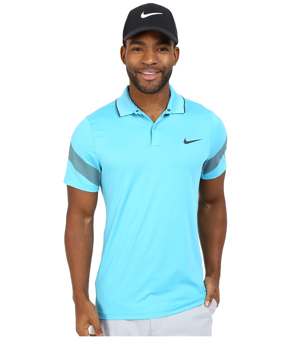Nike Golf - Momentum Framing Commander (Omega Blue/Anthracite/Reflective Silver) Men's Short Sleeve Pullover