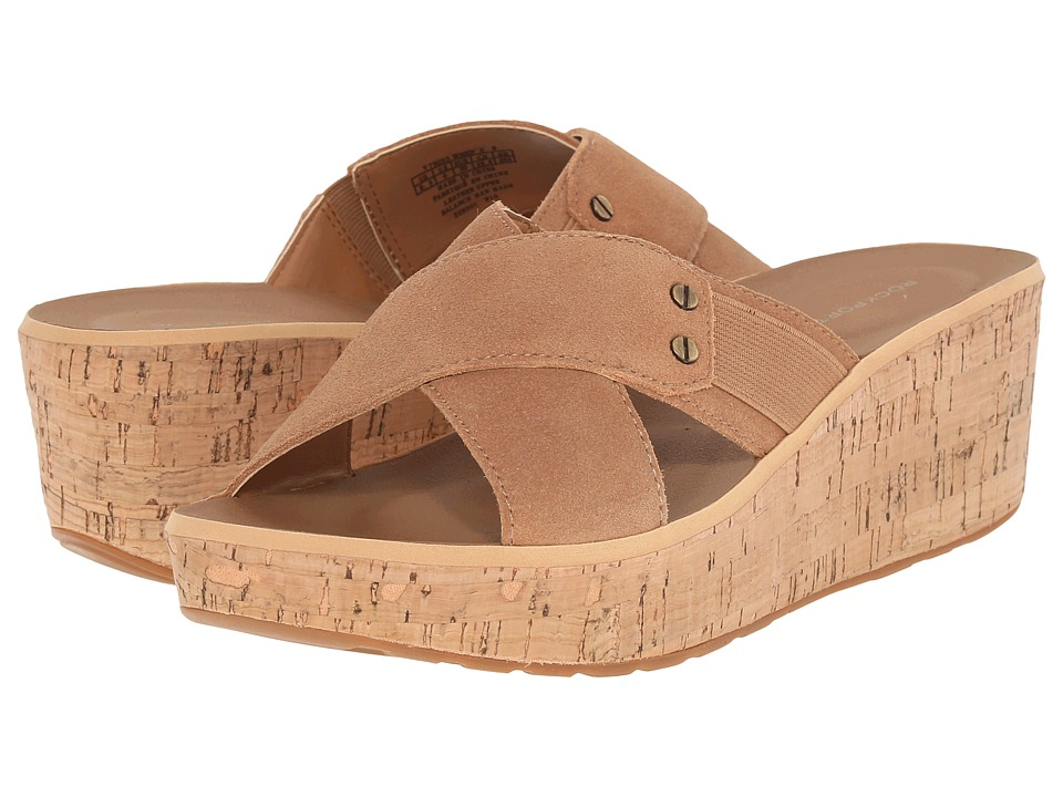 Rockport - Weekend Casuals Lanea Cross Slide (Rich Tan Suede) Women's Wedge Shoes