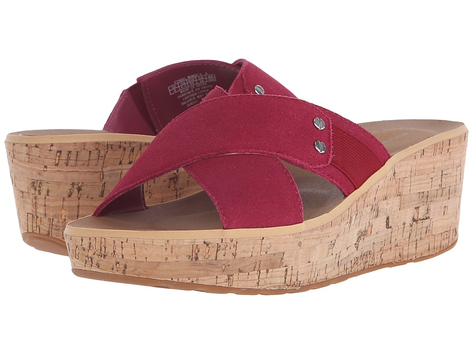 Rockport - Weekend Casuals Lanea Cross Slide (Deep Berry Suede) Women's Wedge Shoes
