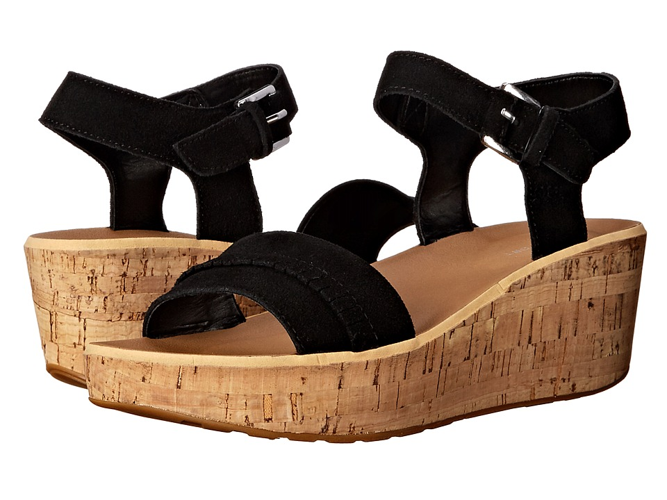 Rockport - Weekend Casuals Lanea Fringe Quarter Strap (Black Suede) Women's Wedge Shoes