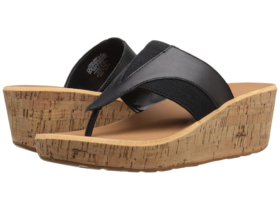 Rockport - Weekend Casuals Lanea Gore Thong (Black Smooth) Women's Wedge Shoes