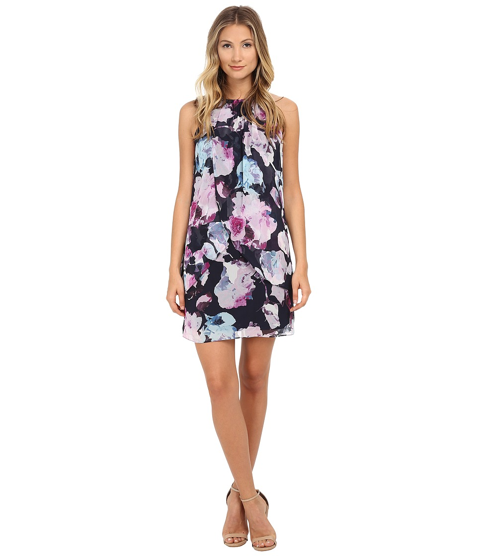 Jessica Simpson - Chiffon Bungee Neck Trapeze (Print) Women's Dress