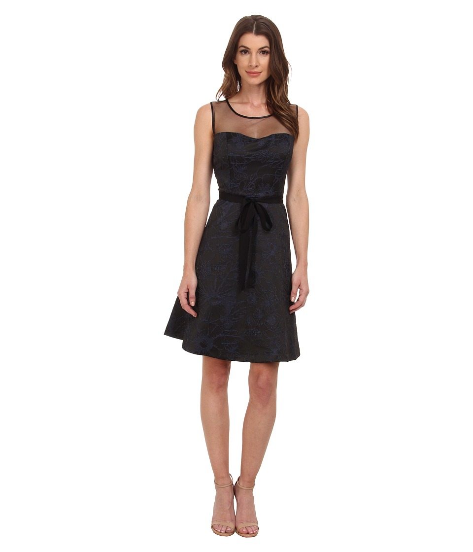 Jessica Simpson - Jacquard Illusion Neck (Navy/Black) Women's Dress
