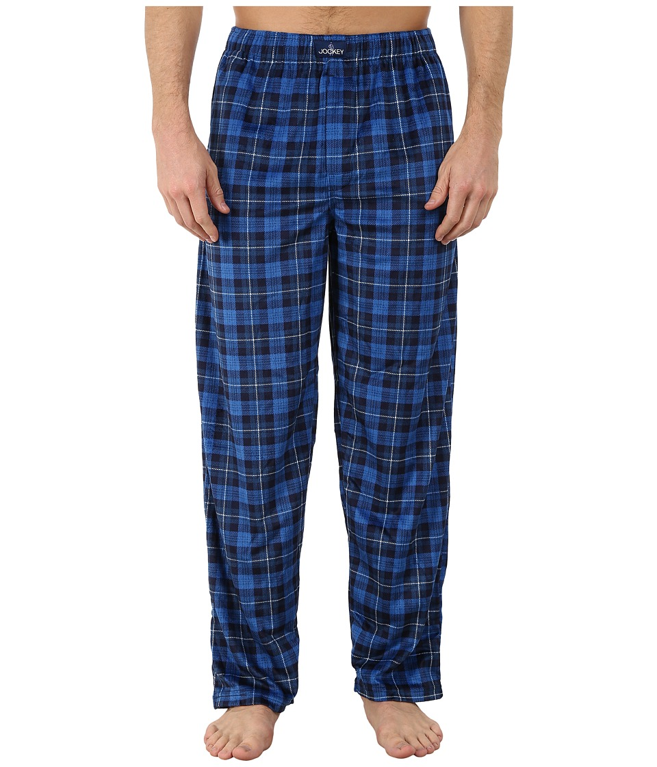 Jockey - Matte Silky Fleece Sleep Pants (Blue Multi Plaid) Men's Pajama