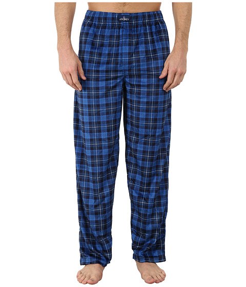 Jockey - Matte Silky Fleece Sleep Pants (Blue Multi Plaid) Men